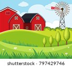 background scene with red barns ... | Shutterstock .eps vector #797429746