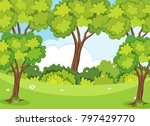 nature scene with trees and...   Shutterstock .eps vector #797429770