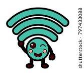 cartoon wifi internet signal...