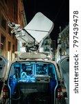 opened door of parked satellite ... | Shutterstock . vector #797439478