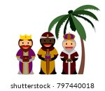 three wise men with their gifts ... | Shutterstock .eps vector #797440018