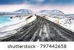iceland snowy landscape ... | Shutterstock . vector #797442658