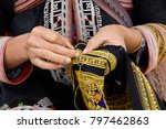 red dao woman embroidering ... | Shutterstock . vector #797462863