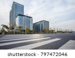 empty road with modern business ... | Shutterstock . vector #797472046