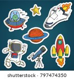 sticker path of astronaut... | Shutterstock .eps vector #797474350