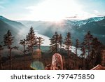 sunset view from a mountain | Shutterstock . vector #797475850