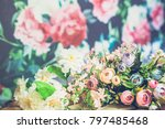 flowers on wooden background | Shutterstock . vector #797485468