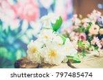 flowers on wooden background... | Shutterstock . vector #797485474