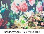 flowers on wooden background | Shutterstock . vector #797485480