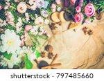 flowers on wooden background... | Shutterstock . vector #797485660