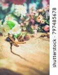 flowers on wooden background... | Shutterstock . vector #797485678
