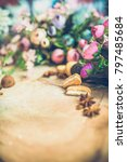 flowers on wooden background... | Shutterstock . vector #797485684