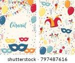 carnival poster. jester hat ... | Shutterstock .eps vector #797487616