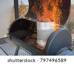sparks rising from charcoals... | Shutterstock . vector #797496589
