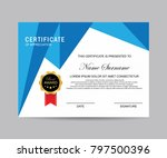 modern certificate vector | Shutterstock .eps vector #797500396