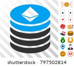 ethereum coin stack icon with...