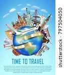 airplane fly over the world... | Shutterstock .eps vector #797504050