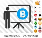bitcoin lecture board icon with ...