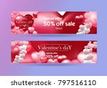 valentine's day discount banner ... | Shutterstock .eps vector #797516110