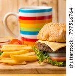 Small photo of Chips With Burger Meaning Ready To Eat And Ready To Eat
