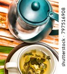 Small photo of Lime Green Teas Representing Refreshing Refresh And Citruses