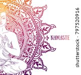 shining buddha in meditation on ... | Shutterstock .eps vector #797520916