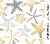 sea stars seamless vector print.... | Shutterstock .eps vector #797527000