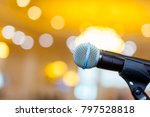 microphone on a background of a ... | Shutterstock . vector #797528818