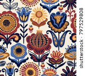 folk floral seamless pattern.... | Shutterstock .eps vector #797529808