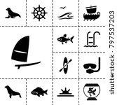 sea icons. set of 13 editable... | Shutterstock .eps vector #797537203
