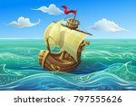 Vector Ship. Boat Schooner...