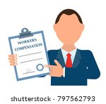 businessman holding a blank in... | Shutterstock .eps vector #797562793