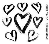 grunge hearts set. valentine... | Shutterstock .eps vector #797571880