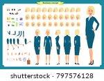 set of businesswoman character...   Shutterstock .eps vector #797576128