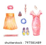 watercolor collection of skirt ... | Shutterstock . vector #797581489