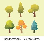 set of low poly tree vector | Shutterstock .eps vector #797590396