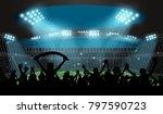 soccer stadium with football... | Shutterstock .eps vector #797590723