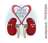 world kidney day cartoon | Shutterstock .eps vector #797592304