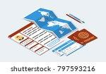 approved visa form  passports ...   Shutterstock .eps vector #797593216