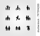 humans icon set vector. girl ... | Shutterstock .eps vector #797594200
