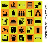 fitness icon set vector.... | Shutterstock .eps vector #797595994