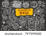 hand drawn indian food on a... | Shutterstock .eps vector #797599000