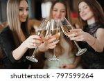 portrait of happy young friends ... | Shutterstock . vector #797599264