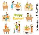family easter big set with flat ... | Shutterstock . vector #797609740