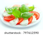 mozzarella and tomato salad... | Shutterstock . vector #797612590