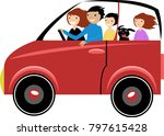 family traveling by car with a... | Shutterstock .eps vector #797615428