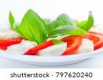 mozzarella and tomato salad... | Shutterstock . vector #797620240