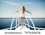 woman standing on the nose of... | Shutterstock . vector #797630638