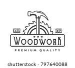 vintage monotone woodwork... | Shutterstock .eps vector #797640088