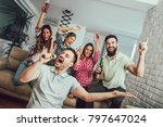 group of friends playing... | Shutterstock . vector #797647024